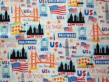 USA Cities Landmarks Cotton Fabric Metre New York Skyline Hollywood America 1m