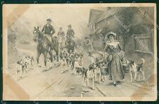 Hunting dog Horse Sanderson Wells postcard cartolina QT5958