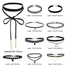 10 Pieces Sexy Choker Women Gothic Black Classic Velvet Stretch Necklace Jewelry