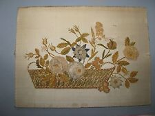 CHARMING ANTIQUE CHENILLE SILK EMBROIDERY PICTURE  3D RAISED FLOWERS BASKET URN