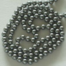 """8MM Rich Dark Gray South Sea Shell Pearl Necklace 36"""" NEW (silk gift bag)"""