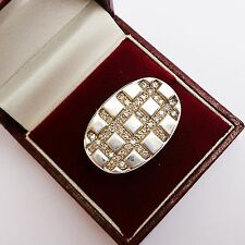 VALLES DORDAL Paris 925 Sterling Silver Chunky Pave Ring UK Size: O; US Size 7
