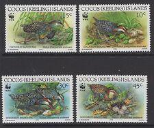 Cocos (Keeling) es. SG265/8 1992 especies en peligro de extinción estampillada sin montar o nunca montada