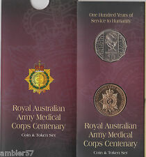 **1995 Australian Medical Corp 50c coin and medallion carded set **