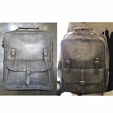 Korea Unisex Rusi Backpack School Travel Business Bag Faux Leather Gray Python