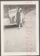 Vintage Car Photo Pretty Girl w/ 1938 Ford Deluxe Automobile 707800