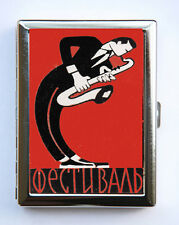Russian Saxophone Player Cigarette Case Wallet Business Card Holder