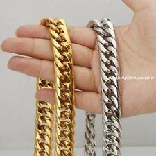 """16/20mm Huge Stainless Steel Silver/Gold Curb Cuban Chain Men's Necklace 7""""-40"""""""