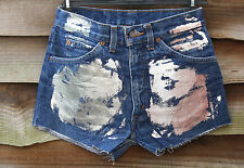 "Blue Denim LEVI STRAUSS 627 Foil High Waist Hot Pants Shorts Size W30"" L2"""