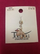 REAL SILVER DOLPHIN STONE SET CHARM/PENDANT