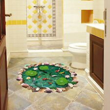 3D Pool Wall Sticker Waterproof Lotus Pond Gold Fish for Children Bathroom Home