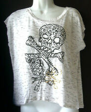 Weavers White & Black Goth Skull Top Size Small NWT