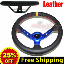 "JDM 350mm 14"" LEATHER DEEP DISH Racing Steering Wheel RED Stitch Universal BLUE"
