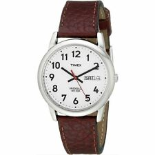 Timex Gents T20041 Mens Brown Leather Strap Day Date Function Analogue Watch New