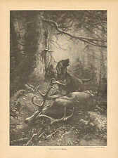 Hunting, Dog, Deer, Stag, Hound, How Loud Vintage, 1895 German Antique Art Print