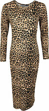 New Womens Ladies Celeb Long Sleeve Animal Print Stretchy Bodycon Midi Dress8-22