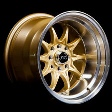 NEW JNC 003 WHEELS 15X9 4X100/4x114.3 +0 OFFSET GOLD MACHINED LIP SET OF 4 RIMS