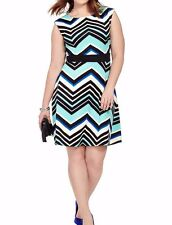 Sandra Darren Fit And Flare Dress In Mixed Chevron Size 16W