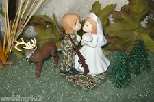 Wedding Kissing Couple  Camo Deer Gun Rifle Hunter Hunting Redneck Cake Topper
