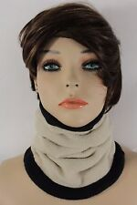Women Scarf Turtle Neck Warmer Head Cover Outdoor Face Mask Sport Ivory Cream