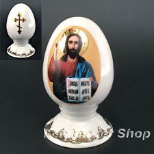Vergoldetes dekoratives Ei aus Porzellan, Osterdekoration, Zierobjekt 8 cm hoch