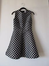 RED VALENTINO Black Silver Polka Dot Sleeveless A Line Dress Size 38 US 0