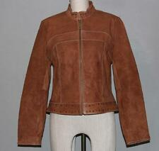 Wilson's Studded Collar Back Waistband Moto Textured Leather Jacket Ws S Nice