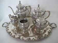 FANTASTIC GORHAM FRANK WHITING AND ELMORE HAND CHASED LILLY REPOUSSE TEA SET 6PC