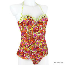 Pistol Panties Pink Orange Retro Floral Underwire Halterneck Tankini Bikini UK12