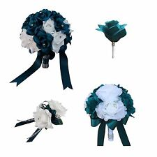 Wedding Package-Teal and White Artificial Wedding Bouquets
