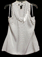 White House Black Market Women's Silk Pinstripe White Top. Size: Med.  #034