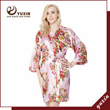 Floral satin bridesmaid robes gowns bride bath robe, wedding kimono robes