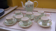 1961+  ROYAL GRAFTON STUDIO CRAFT COFFEE / TEA SET IN GREEN WITH A WHITE FLOWER