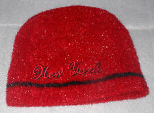 New York Sparkling Red & Black Embroidered New York Stretch Cap - One Size