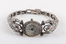 VINTAGE STERLING SILVER HEMATITE PANTHER WRISTWATCH HEAD MOVES  7928