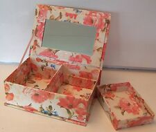 Book Shape Jewlery Box with Mirror & Removable Shelf - Light Floral Design - NEW