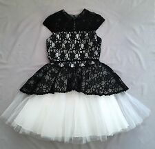 NWT DAVID CHARLES GIRLS BLACK LACE WHITE TULLE DRESS SZ 12 ~ PARTY ~ RRP$680