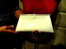 Vintage BIENEN DAVIS CREAM PLASTIC PATENT LEATHER CLUTCH EVENING PURSE