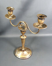 Antique Edwardian Art Deco Silver-plate Brass Candle Holder Candlestick ^ Decor