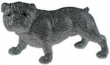 Large 34 cm Silver Art Diamante Bling British Bull Dog Figurine / Ornament.