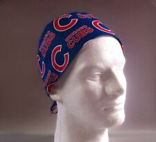 CHICAGO CUBS: Surgical Scrub Hat, Chefs Hat, Skull Cap (handmade)