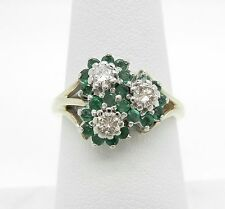14K Yellow Gold Genuine Green Emerald And Diamond Ring~BEAUTIFUL!