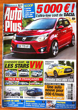 AUTO PLUS du 15/06/2010; L'ultra Low Cost Dacia/ Citroën DS3 HDi 110/ Stars VW