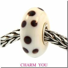 Authentic Trollbeads Glass Bead 61146 Brown Dot- RETIRED