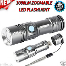 3000LM Portable MINI Adjustable Focus USB Rechargeable LED Flashlight Torch Lamp