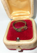 Antique mid Victorian woven hair hairwork gold mourning ring