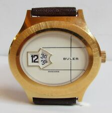 Vintage BULER Jump Hour Digital Watch SWISS Exotic Elephant Strap