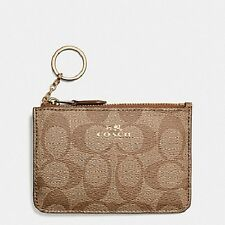 NWT COACH F63923 KEY CHAIN ZIP COIN POUCH IN KHAKI SIGNATURE ~ MSRP $65.