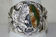 Signed Navajo Made Sterling Silver Boulder - Ribbon Turquoise Men's Ring Size 12