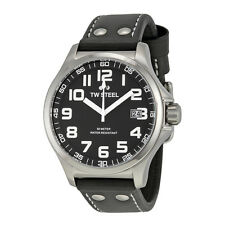 TW Steel Men's 45mm Pilot Quartz Black Dial Black Strap Watch TW408